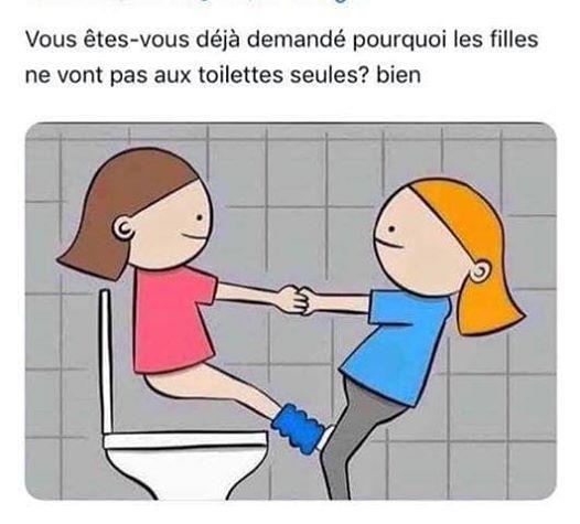 Photos Humour : pourquoi 2 filles aux wc