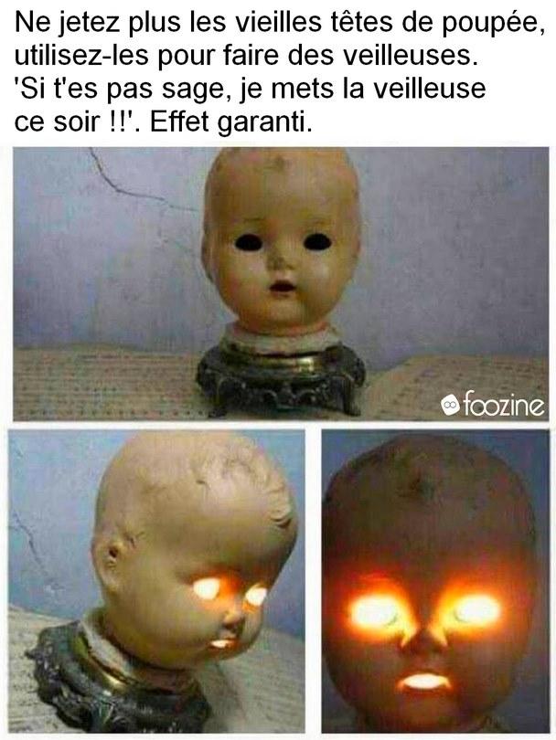 Photos Humour : recycler le têtes de poupées