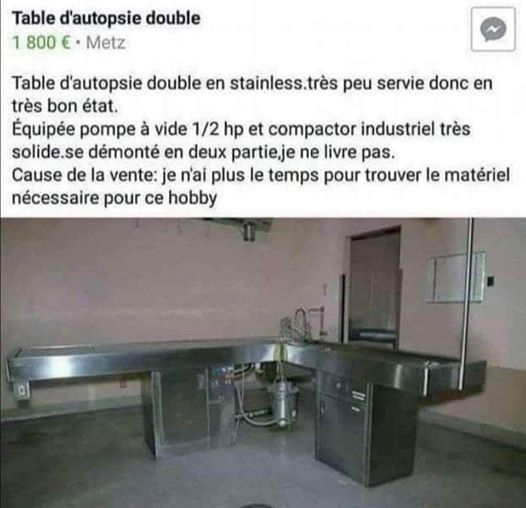Photos Humour : vente table d