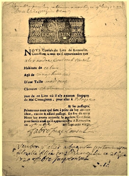 Photos Humour : attestation en 1720