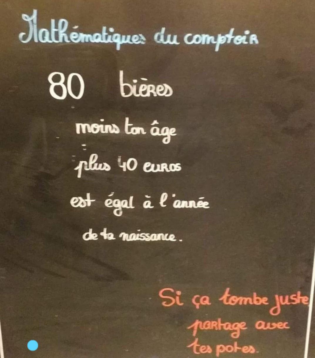Photos Humour :  Mathématiques de comptoir...